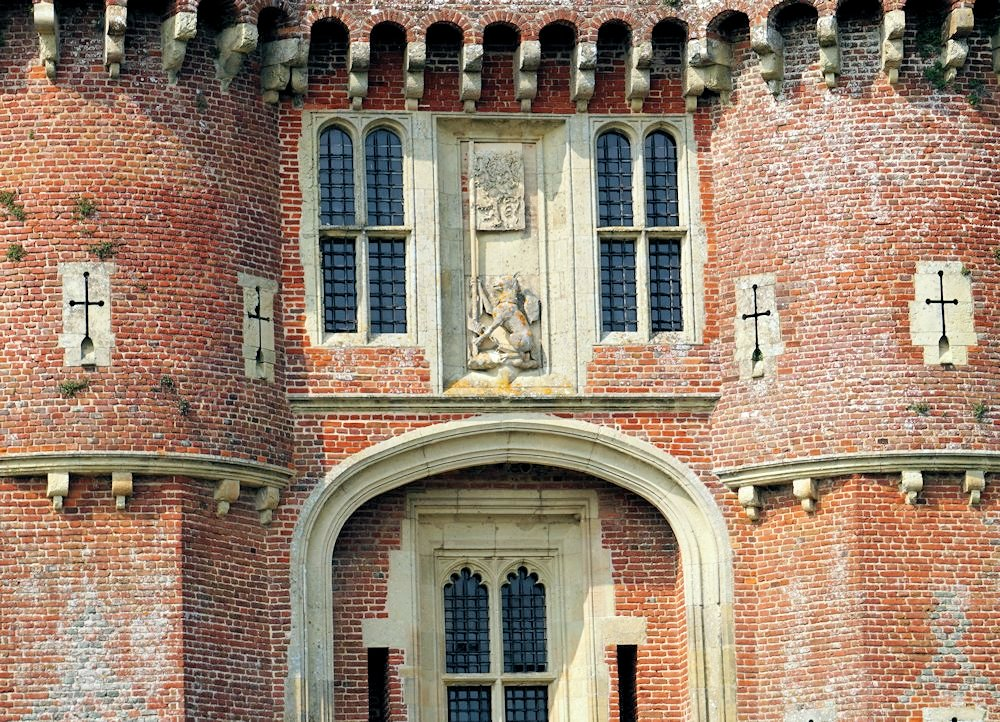 Herstmonceux-Castle-gardens-and-grounds-East-Sussex England history architecture castle close up
