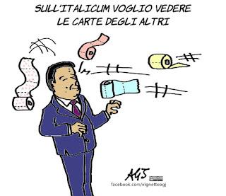 carte, Italicum, modifiche italicum, renzi, riforme, legge elettorale, vignetta, satira