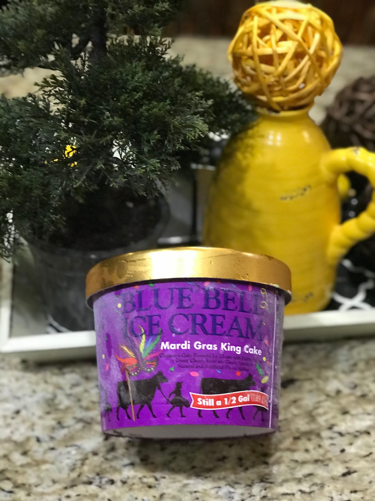 Bought Blue Bell Mardi Gras King Cake Ice-Cream-  Oh, and I must share my new favorite ice-cream at the moment. My husband finally got his hands on a half-gallon of Blue Bell Mardi Gras King Cake ice-cream. Yes, I was super excited to see he bought us two tubs of it. I'm not sure if one is all his or for the whole family. LOL, either way, my bowl was filled to the brim with a slice of cake