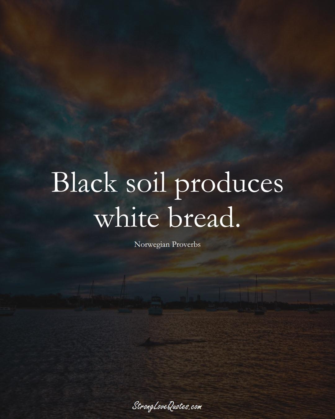 Black soil produces white bread. (Norwegian Sayings);  #EuropeanSayings