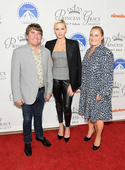 Princess Charlene of Monaco at Hollywood Paramount Studios. Prince Rainier award to James Cameron