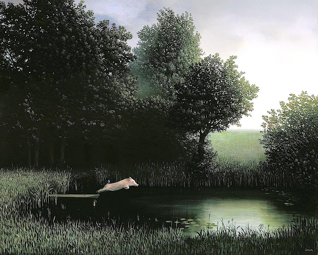 Michael Sowa, a pig diving into a pond