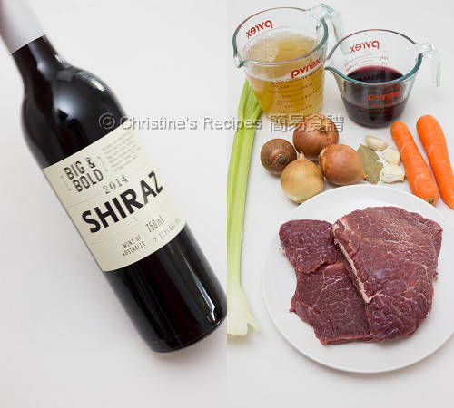 Ingredients of Beef Cheek Stew with Red Wine