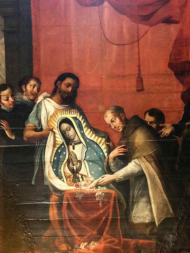 O arcebispo de México diante do milagre no pobre tecido.