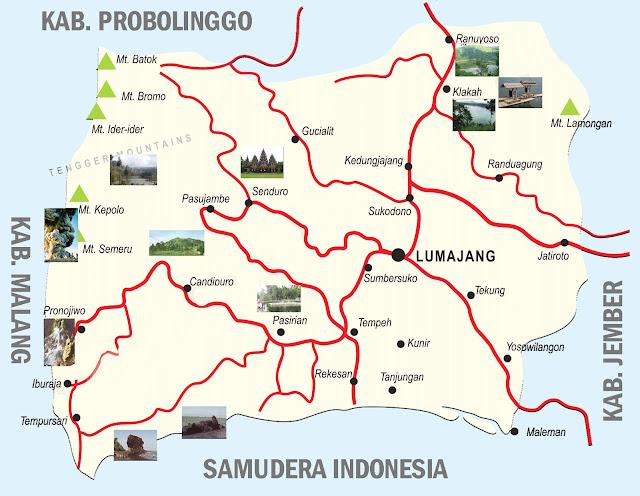 Gambar Peta Kabupaten Lumajang Jawa Timur Lengkap