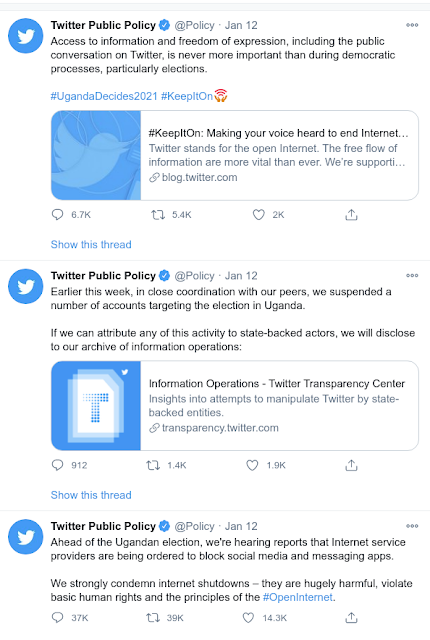 twitter tweets condemning Uganda internet shutdown