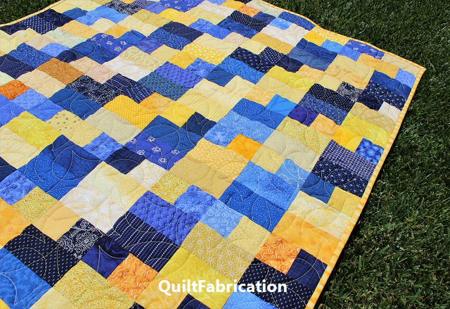 Celilo baby quilt by QuiltFabrication in yellow and blue