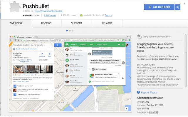 Cara Mendapatkan Notifikasi Android di Windows 10 - Ekstensi Pushbullet