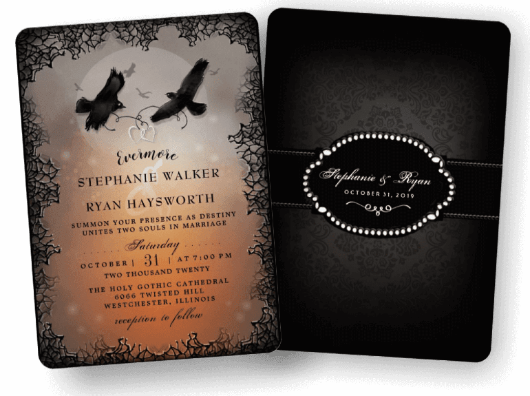 Halloween Ravens Evermore Custom Wedding Invitation