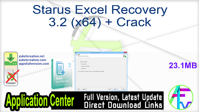 Starus Excel Recovery 3.2 (x64) + Crack