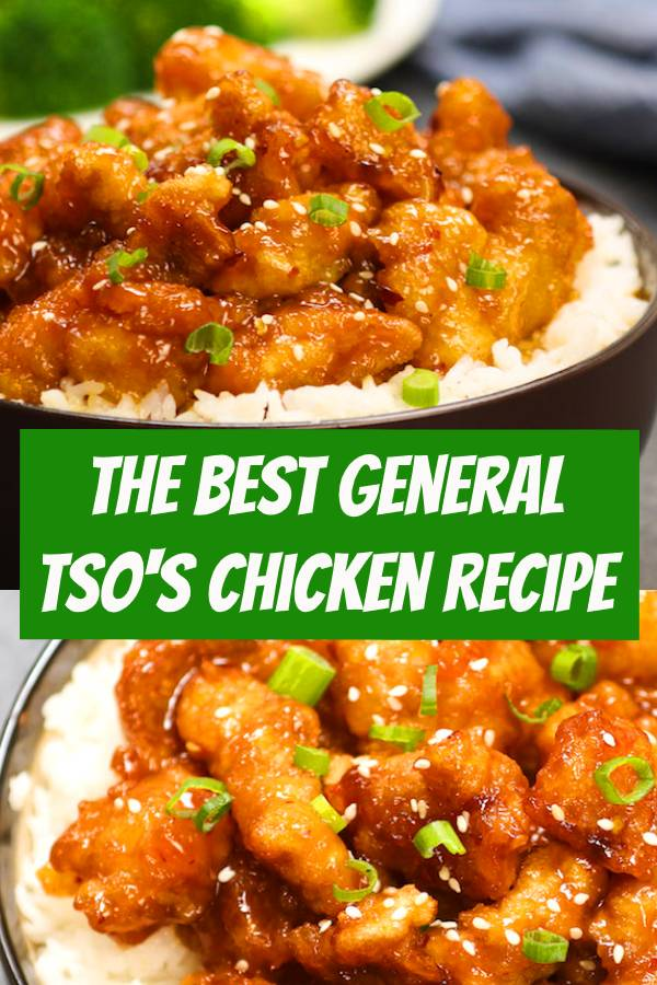 The Best General Tso's Chicken is an easy Chinese chicken recipe with general tso's sauce cooked in 20 minutes! Crispy and tender chicken thighs coated in a homemade sticky tangy stir-fry sauce, totally addictive. #chicken #chickenrecipes