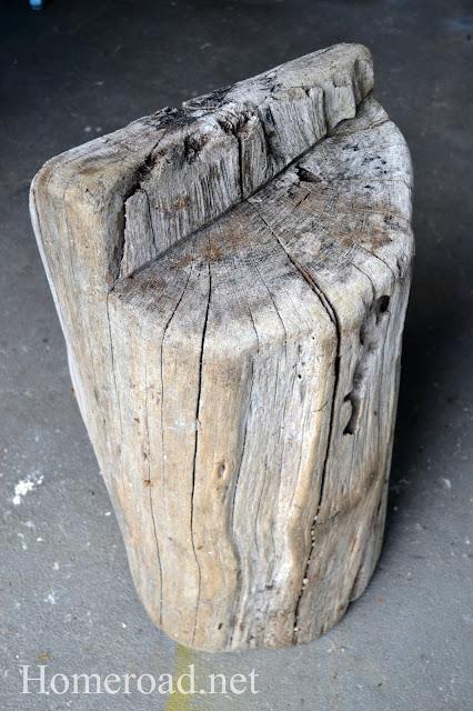 Wooden stump found on the beach.