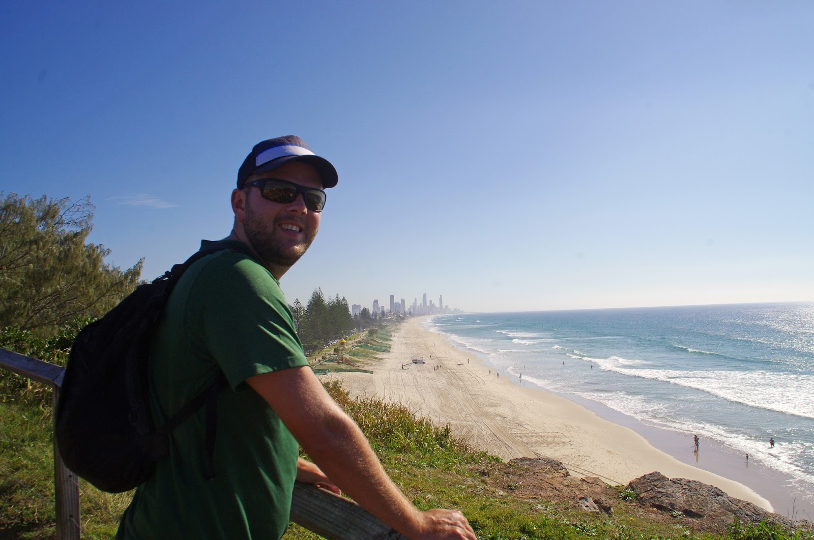 Guy at lookout of Surfers Paradise Beach from Burleigh Heads