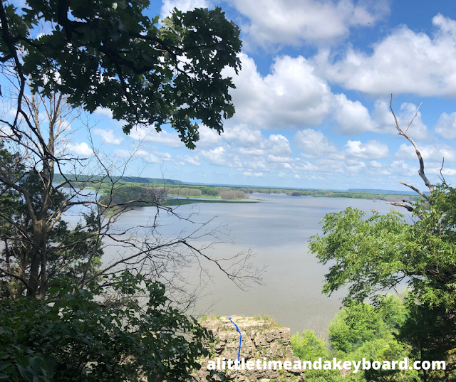 Standing on the overlook, the Mississippi River unfolded before us at Mississippi Palisades State Park