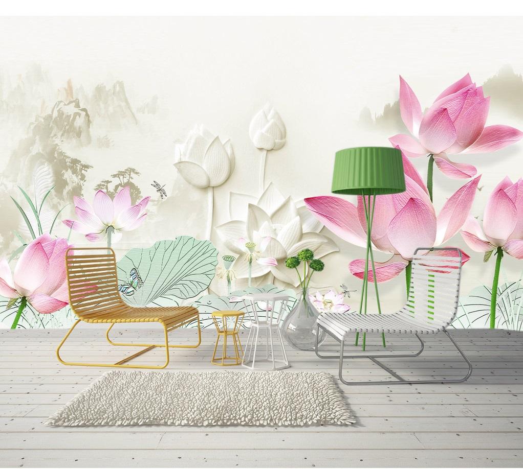 Tranh dán tường 3d phong cảnh hoa sen hồng