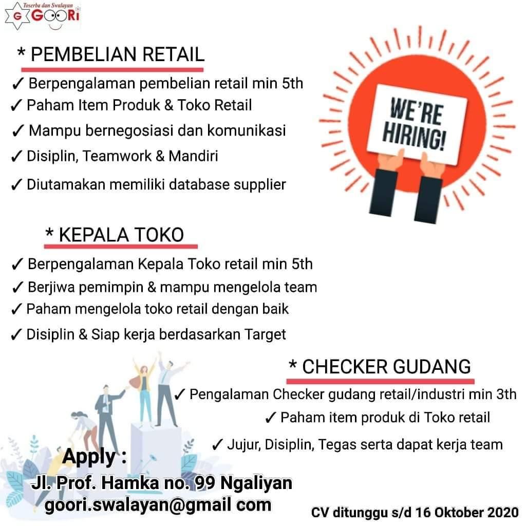 Lowongan Kerja Semarang di Goori Swalayan Membuka Lowongan Kerja Untuk Posisi Pembelian Retail, Kepala Toko dan Checker Gudang
