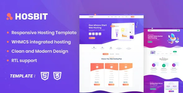 Best WHMCS and Hosting HTML5 Template
