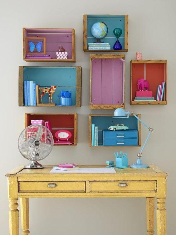 reutilizar caixotes de madeira nichos escritorio