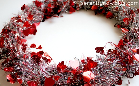Simple Valentine's Day Tinsel Garland Wreath, from Serenity Now blog