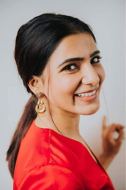 Actress Samantha Stunning Photoshoot Pics In Red Dress Navel Queens
