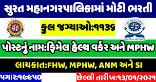 Surat Municipal Corporation (SMC) Recruitment for Total 1136, FHW, MPHW & Supervisor Posts 2021