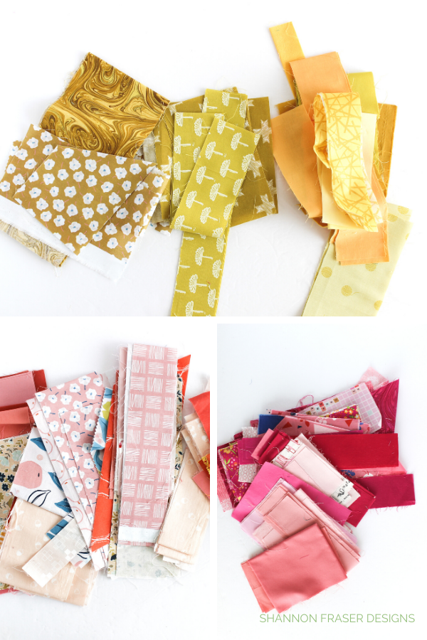 Fabric scraps sorted by colour | Shannon Fraser Designs
