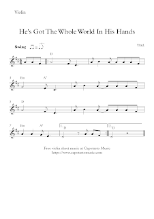 He's Got The Whole World In His Hands, violin sheet music