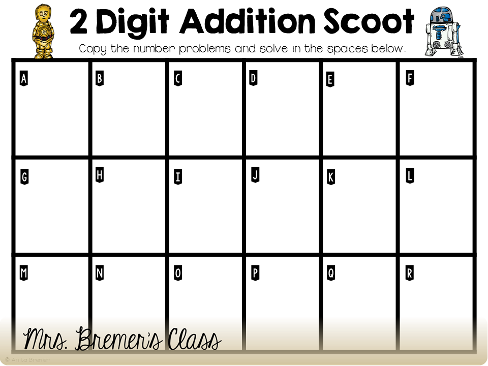FREE two digit addition Write the Room or Scoot activity
