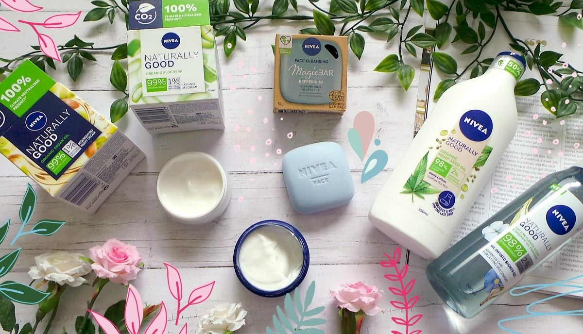 a flatlay showing a day cream, night cream, face cleansing bar, shower gel and body lotion from Nivea with doodles of leaves and flowers around it