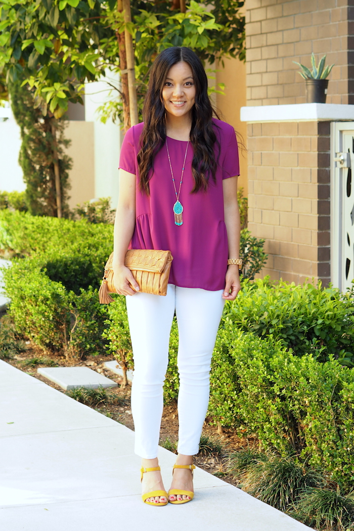 magenta top + turquoise jewelry + yellow shoes