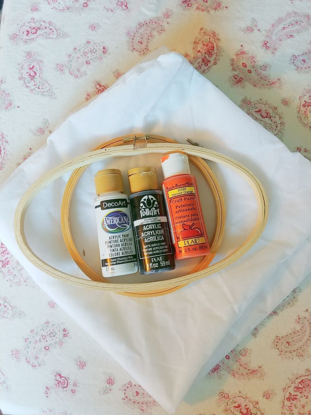 DIY Embroidery Hoop Pumpkin supplies