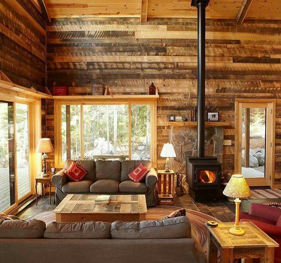 Cabin Living Room With Rustic Wood