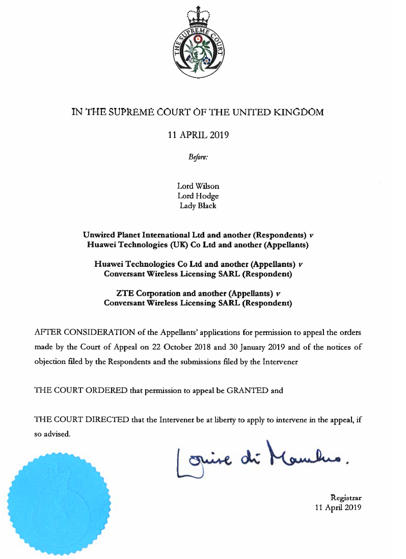 2266e0a5155b FOSS Patents  Supreme Court of the UK grants Huawei s petition to ...