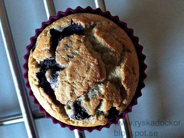 Nötfria banan- och blåbärsmuffins, glutenfria så klart :)