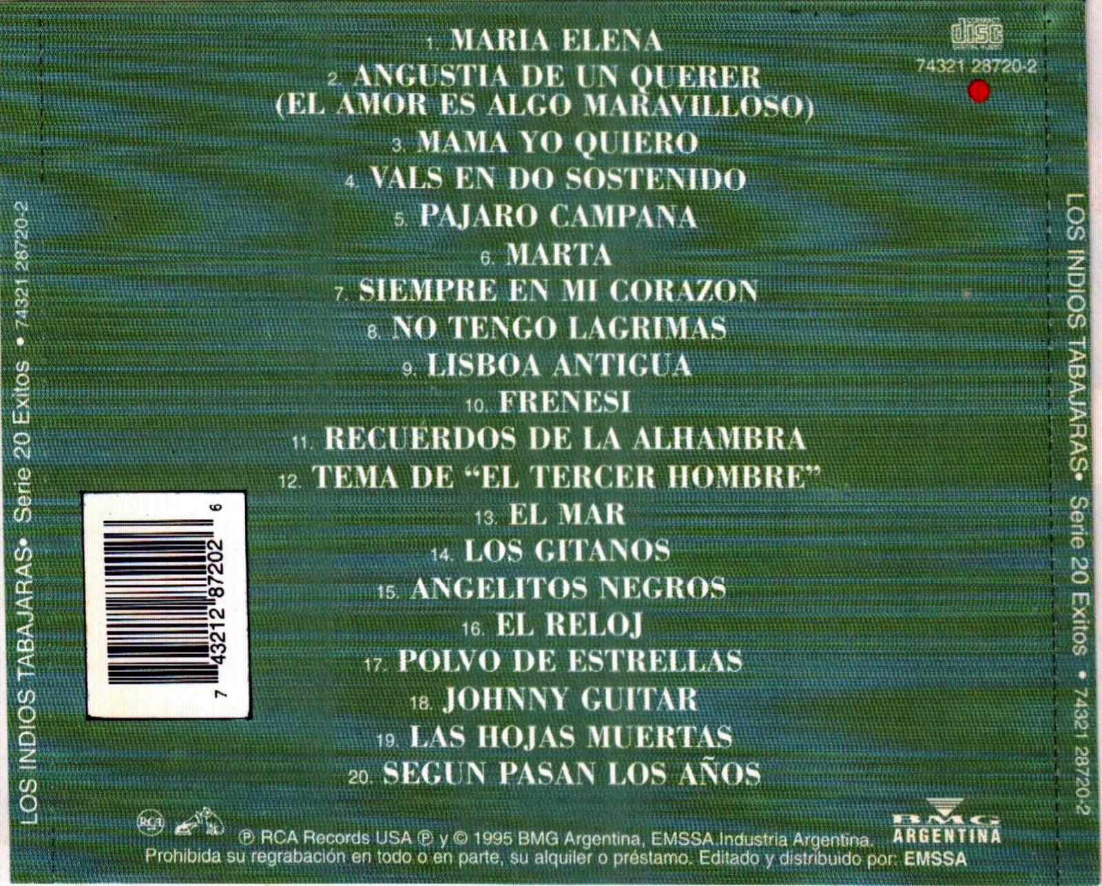 LOS INDIOS TABAJARAS - SERIE 20 EXITOS - 1995 - OMAR LONGHI