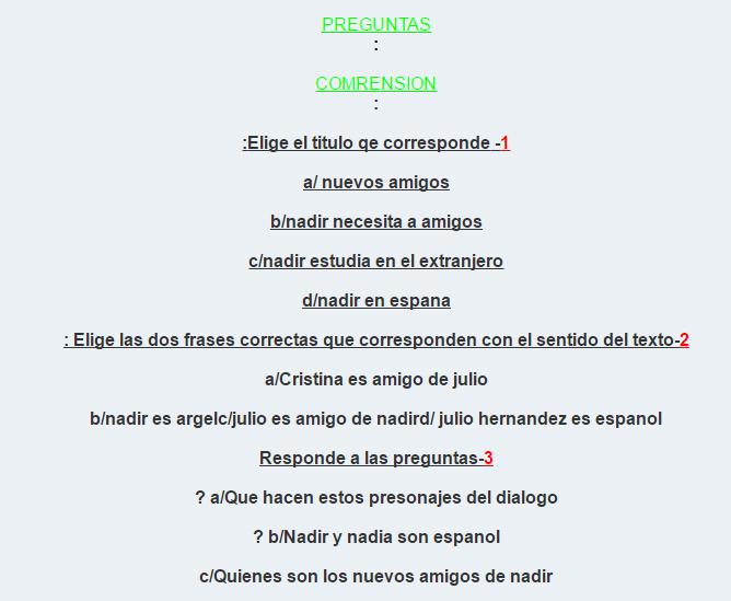 امتحان في مادة اللغة الإسبانية للسنة الثانية ثانوي الفصل الأول