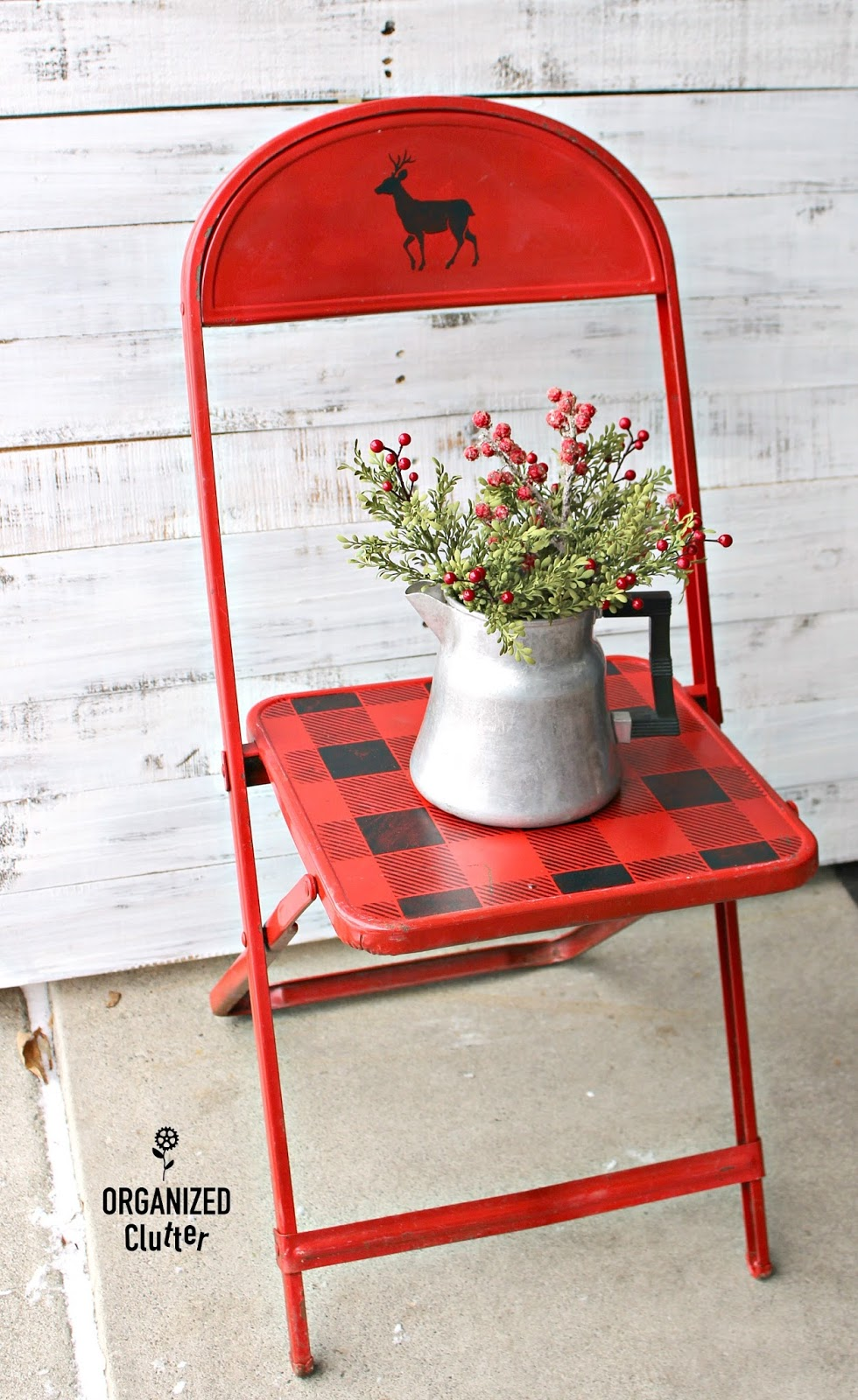 Folding Chair Upcycle Covers For Rent In Philadelphia Thrift Shop Vintage Child's Metal Christmas | Organized Clutter
