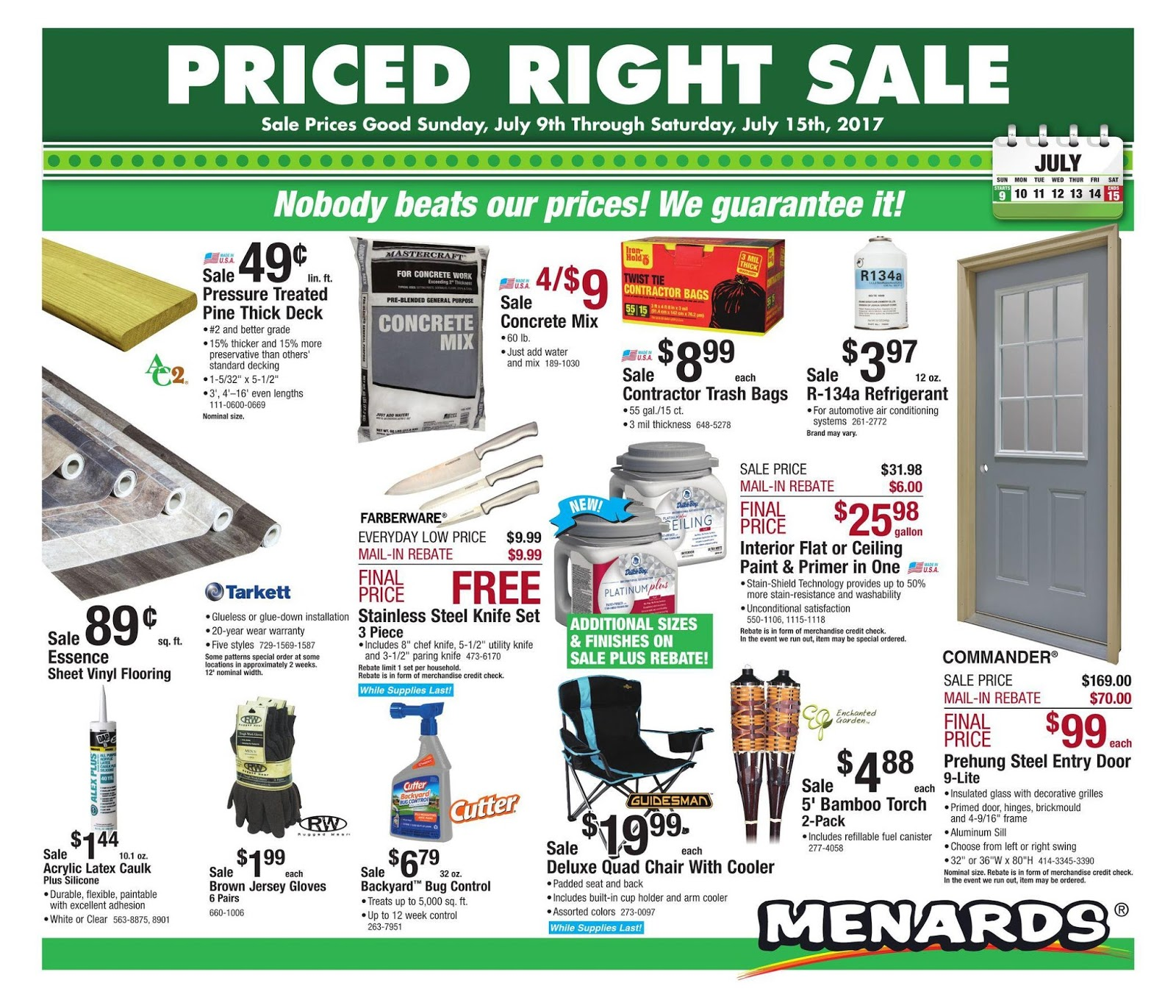 Menards Ad July 9 15 2017 Weekly Ad Deals