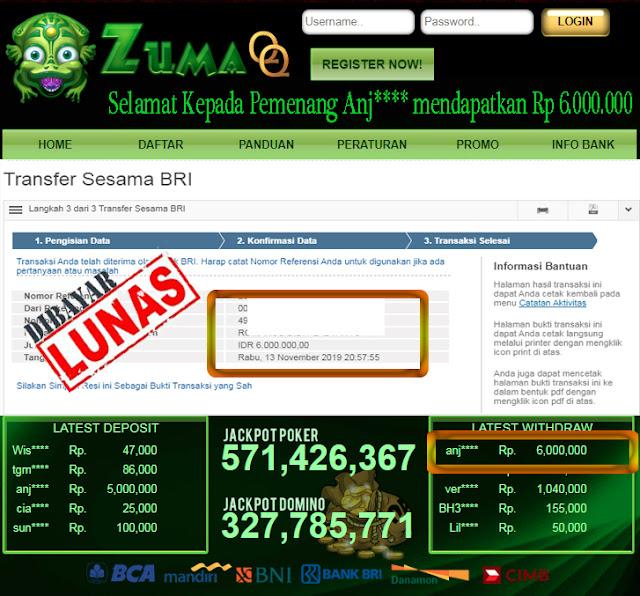 Selamat Kepada Pemenang Member Setia ZumaQQ Periode 13 November 2019