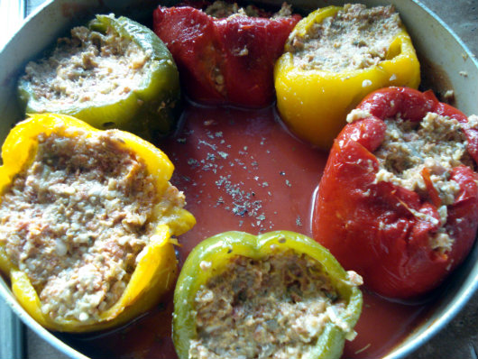 cooking stuffed peppers