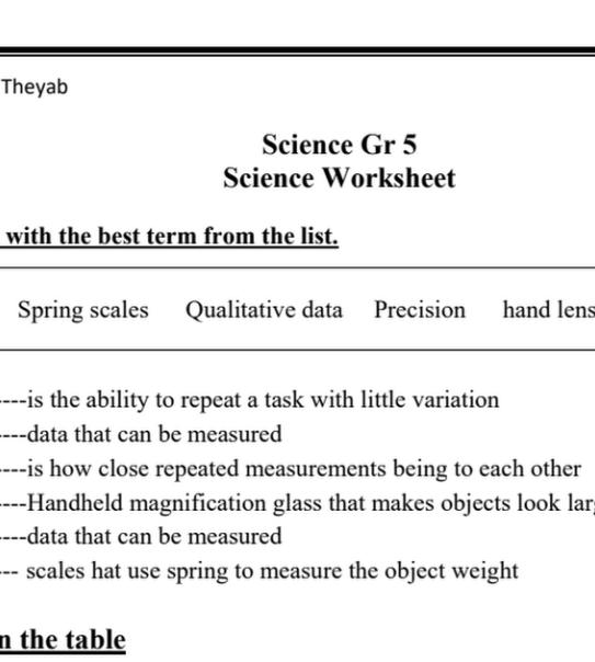 أوراق عمل محلولة علوم منهج إنجليزي
