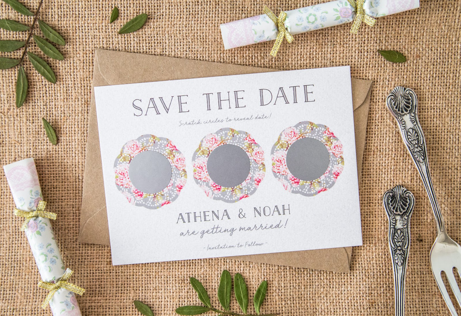 Personalised scratch off save the date doily invites by Soulmate Stationery