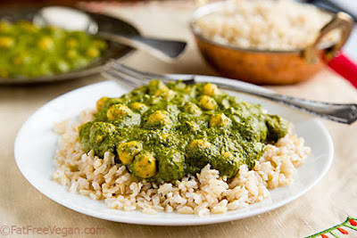 Creamy Curried Kale and Chickpeas    A favorite dish, a creamed spinach with chickpeas similar to Palak Paneer but without the cheese.