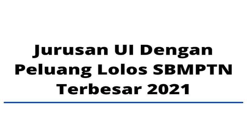 Jurusan UI Dengan Peluang Lolos SBMPTN Terbesar 2021