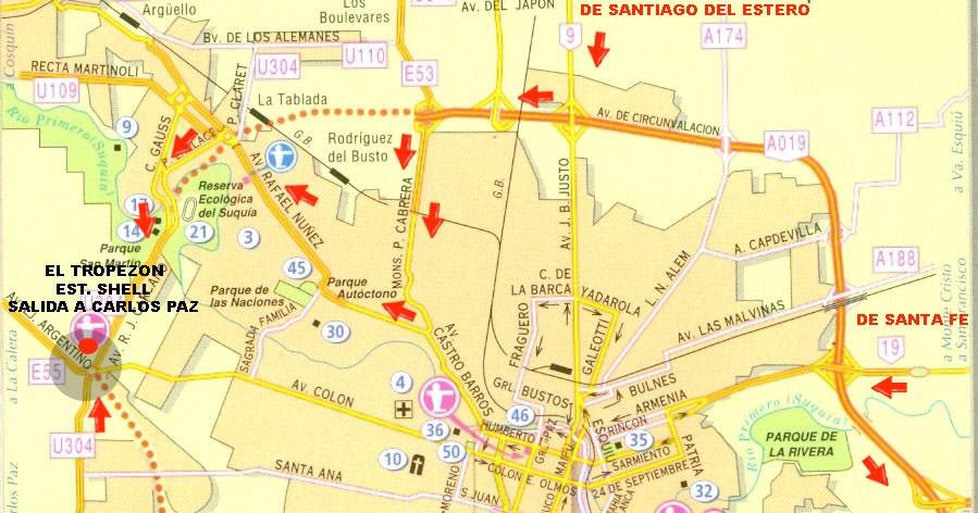 Mapa De Cordoba Capital.Cordoba Argentina Plano De Cordoba