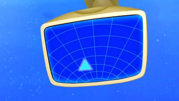 The professor's super-sonar is showing a blue triangle.