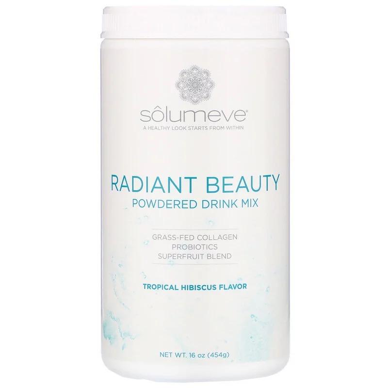 Solumeve, Radiant Beauty, сухая смесь для приготовления напитка с экологически чистым коллагеном, пробиотиками и суперфруктами, тропические фрукты и гибискус, 454 г (16 унций)
