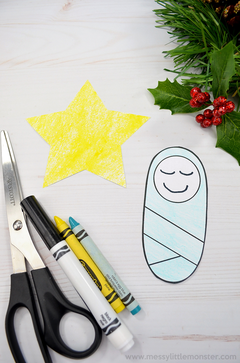 baby Jesus in a manger. Christmas crafts for kids.