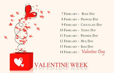 Valentine Week Days   7th Feb 2020 to 14th Feb 2020 Valentine Week List 2020 Dates Chart Image