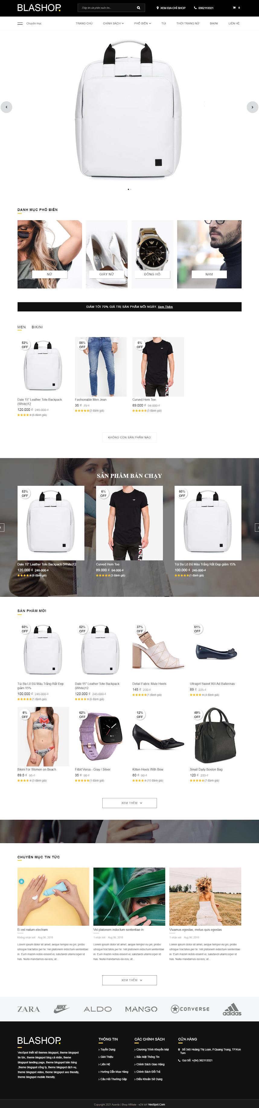 BlaShop template bán hàng đẹp, chuyên nghiệp